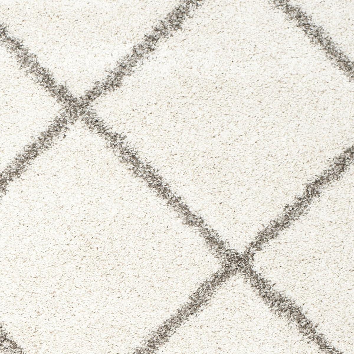 Safavieh Hudson Shag Collection SGH281A Ivory and Grey Moroccan Diamond Trellis Area Rug (8 x 10)