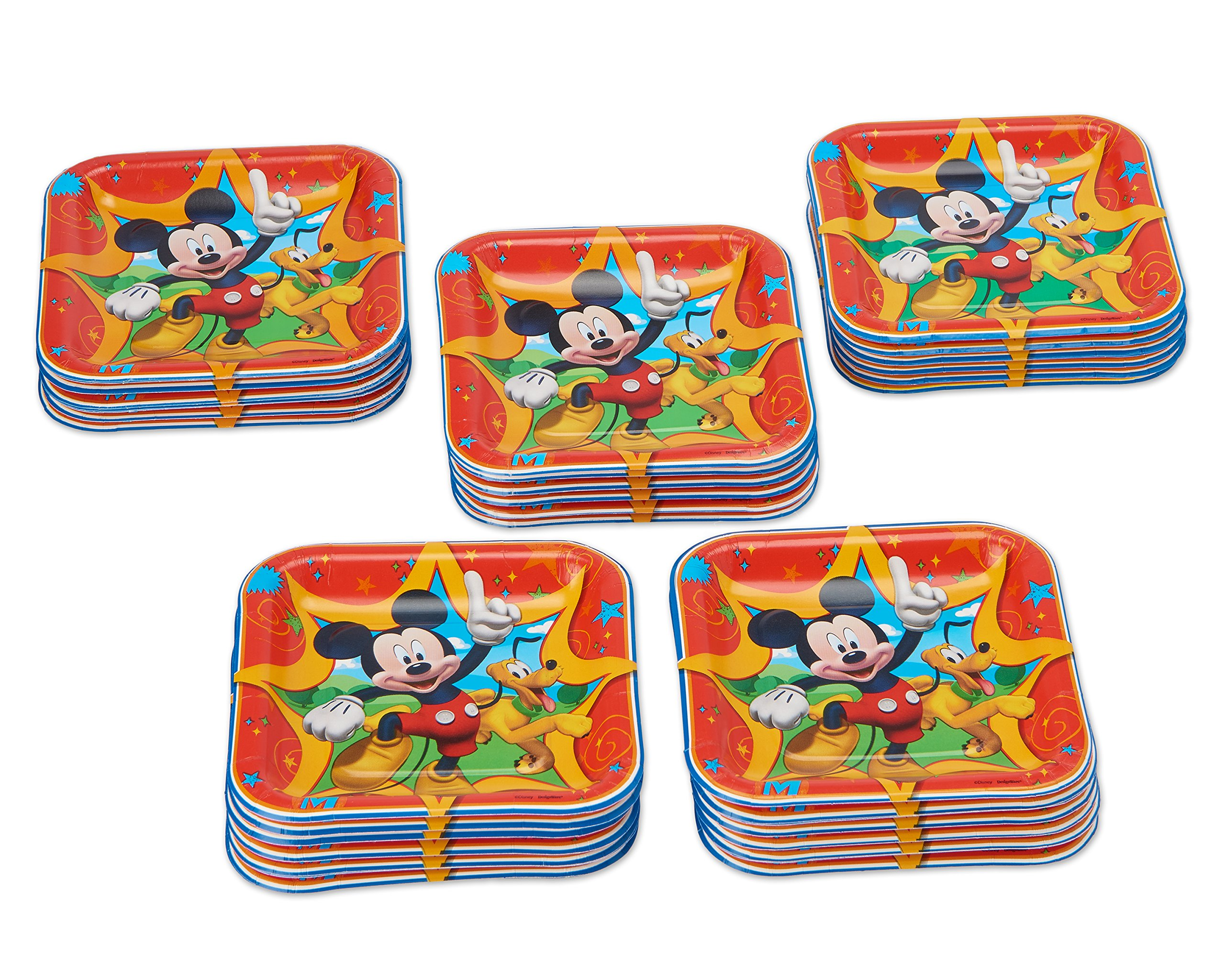 American Greetings Mickey Mouse Square Plate (40 Count), 7''