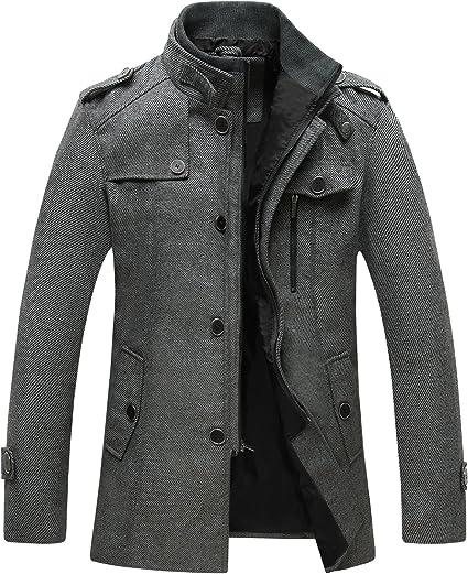 Manteau en laine épaisse pour hommes coupe slim patte de