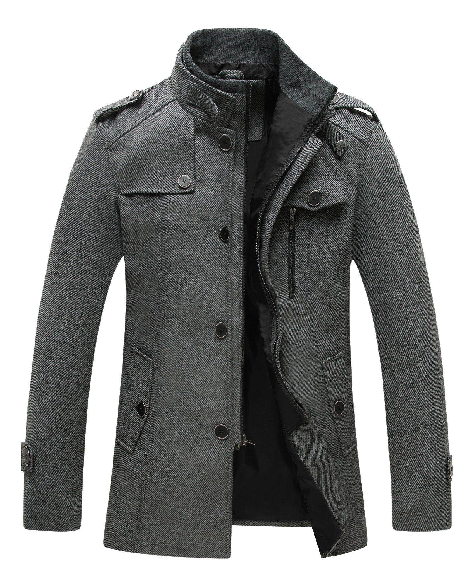 Wantdo Men's Wool Coat Stand Collar Windproof Jacket Overcoat Grey Large