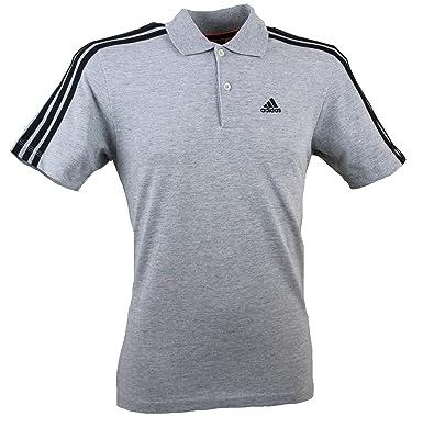 2ff2f2ac Mens adidas Essentials 3 Stripe ClimaLite Cotton Polo T Shirt (XS, Grey):  Amazon.co.uk: Clothing