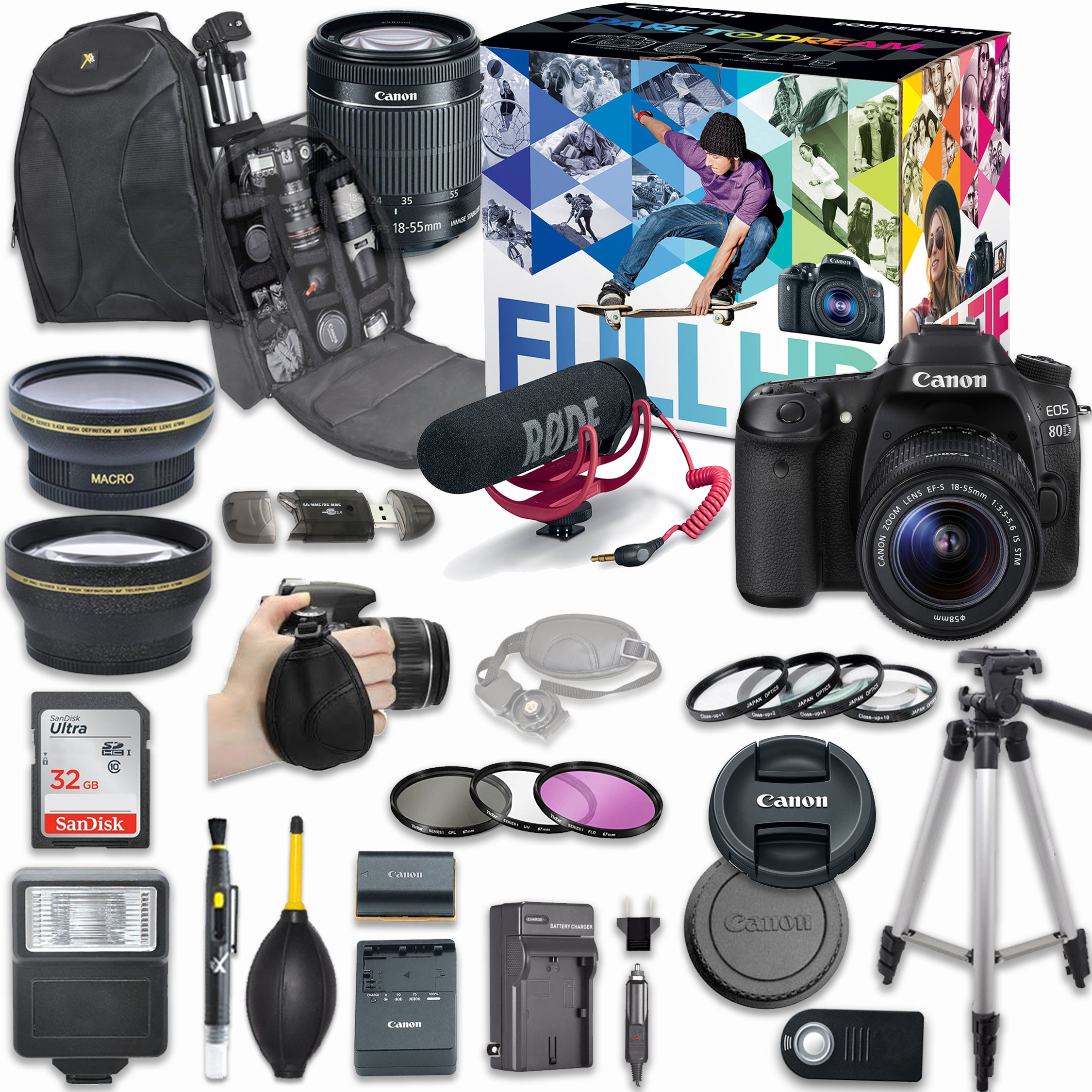 Canon EOS 80D DSLR Camera Deluxe Video Creator Kit with Canon EF-S 18-55mm f/3.5-5.6 IS STM Lens + Rode VIDEOMIC GO Microphone + SanDisk 32GB SD Memory Card + Accessory Bundle