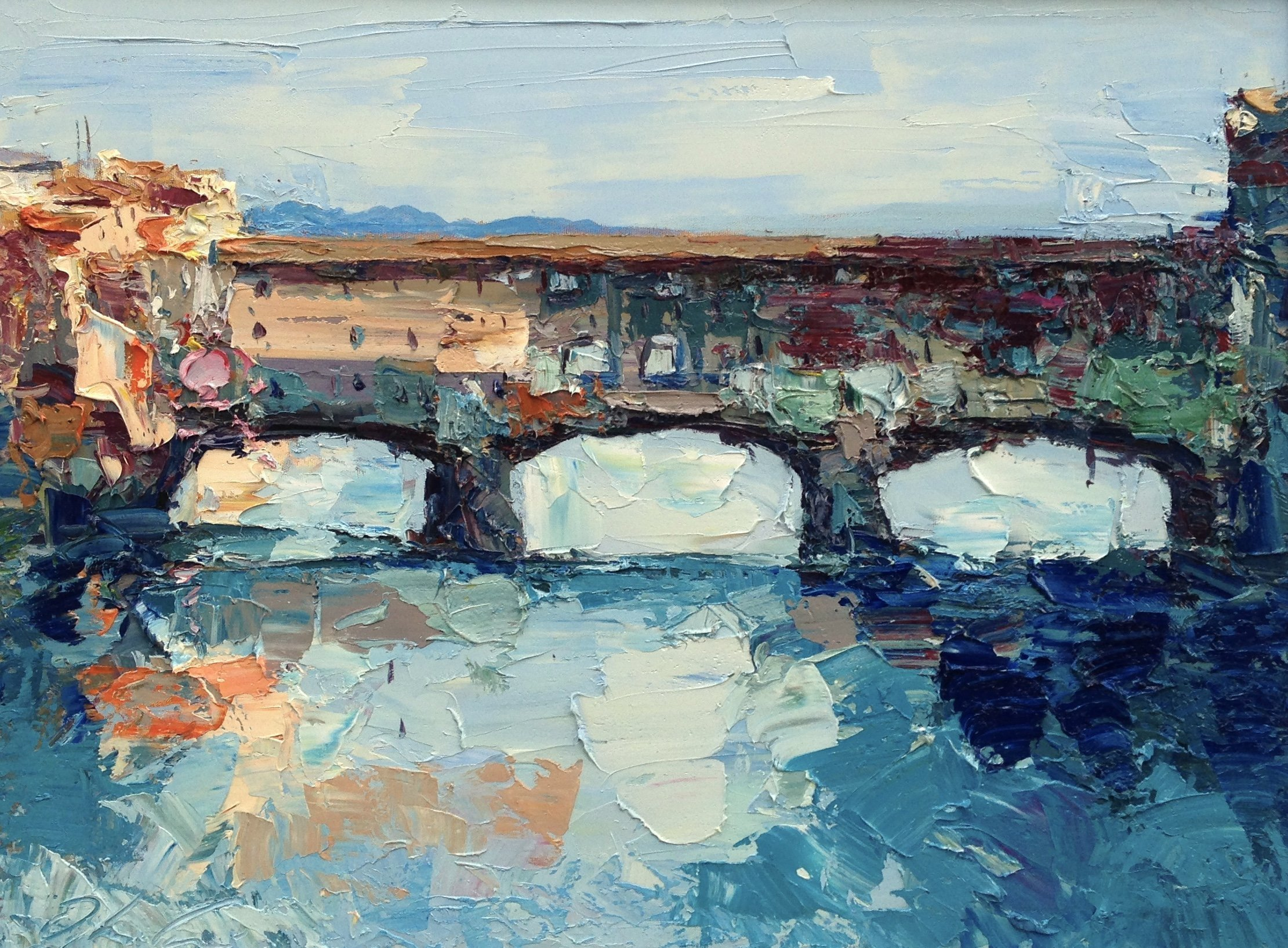 Firenze Ponte Vecchio Abstract Canvas Art Arno River Prints Italy Artwork Home Decor Living Room Wall Office Decor Christmas Gifts Unique for Him Her Men Women - from Agostino Veroni by AGOSTINO VERONI ORIGINAL PAINTINGS AND FINE ART PRINTS