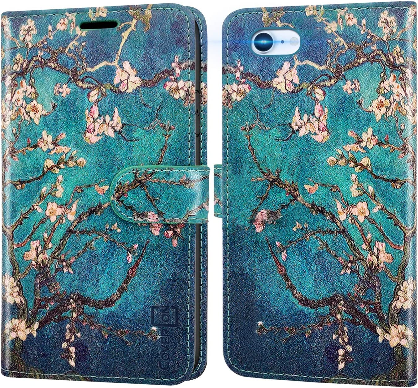 CoverON Wallet Designed for Apple iPhone SE Case 2020 / iPhone 8 Case, RFID Blocking Flip Folio Stand PU Leather Phone Pouch - Almond Blossom