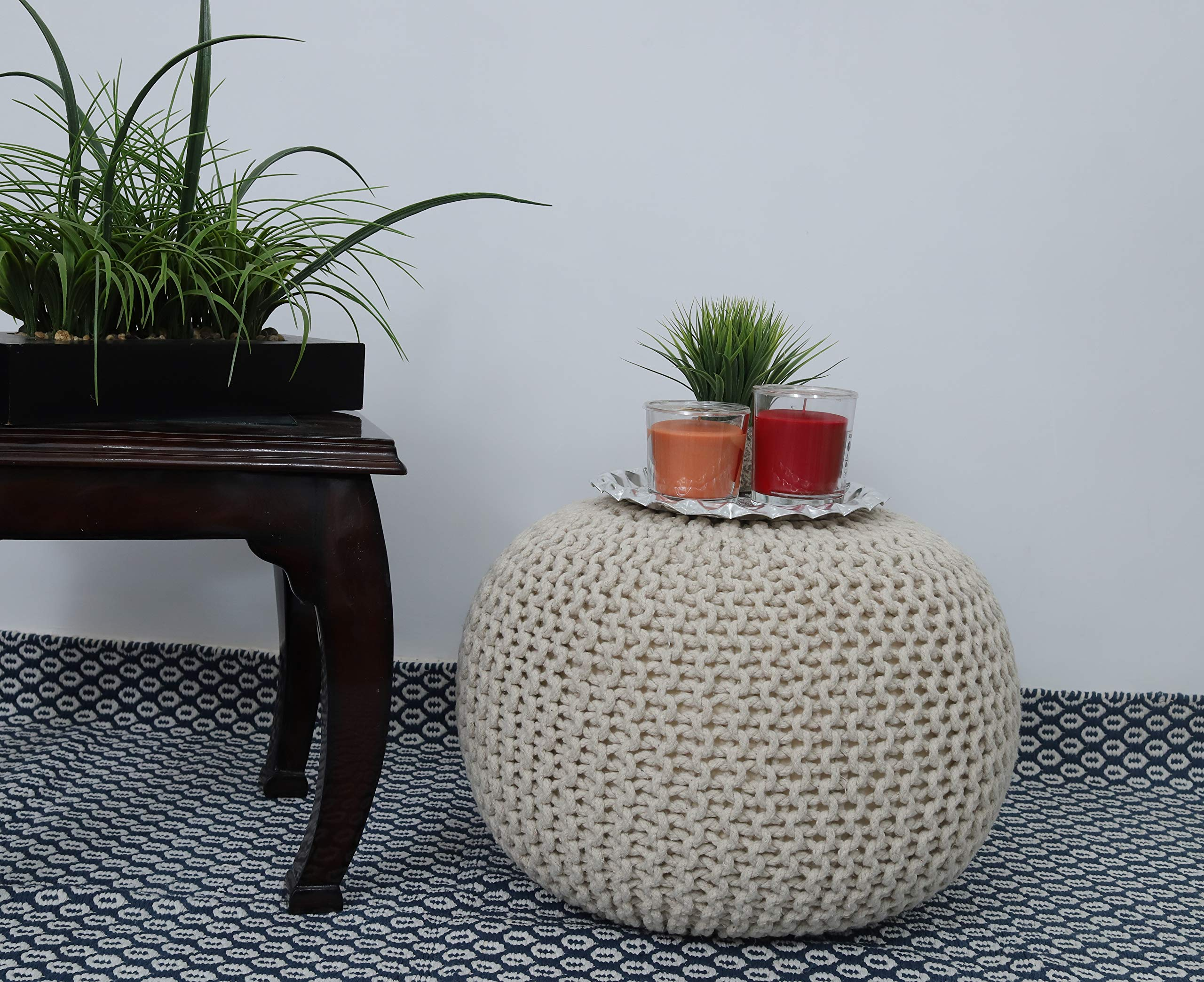 Frenish Décor Hand Knitted Cotton Ottoman Pouf Footrest 20x20x14 INCH, Living Room Accent seat (Natural) by Fernish Décor