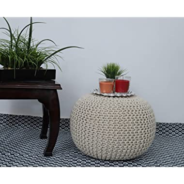 Frenish Décor Hand Knitted Cotton Ottoman Pouf Footrest 20x20x14 INCH, Living Room Accent seat (Natural)