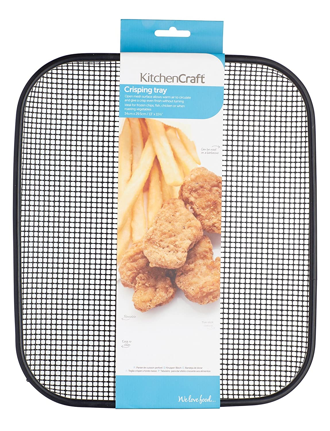 Amazon.com: KitchenCraft Wire Mesh Chip-Crisping Baking Tray, 34 x 29.5 cm (13.5