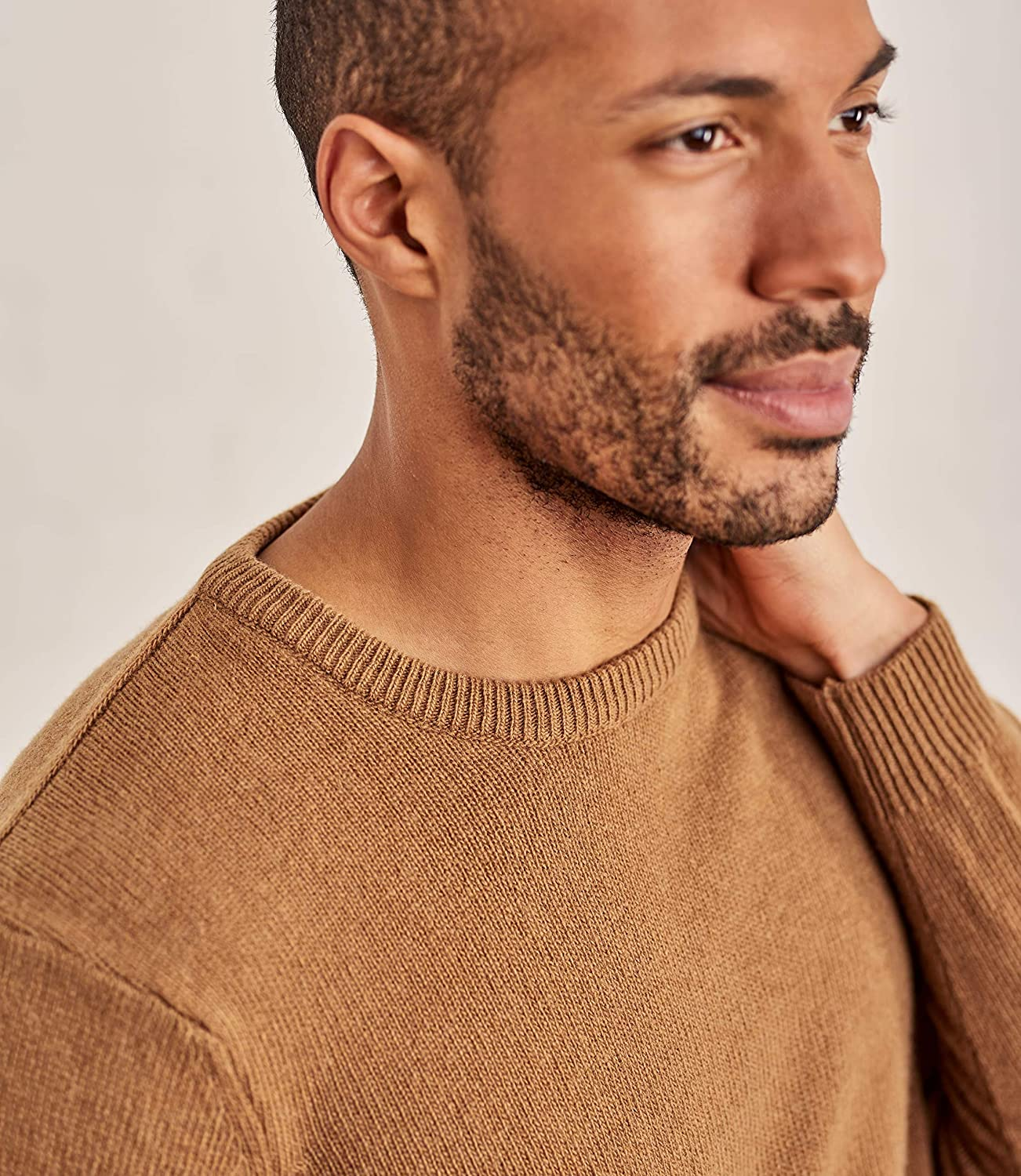 WoolOvers Mens Lambswool Crew Neck Jumper Tawny