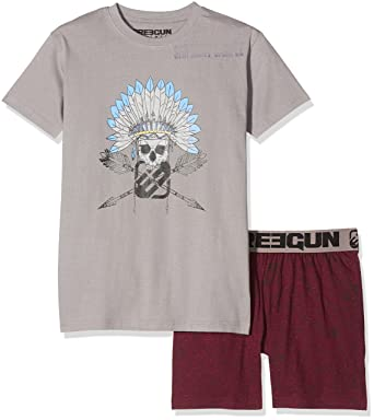 8f2737c97221e MZ Ensemble de pyjama Garçon Gris (Anthra/Bordeaux Chiné) 10 ans (Taille  fabricant: 10 Y): Amazon.fr: Vêtements et accessoires