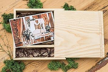 Caja de madera (sin USB), Print & USB Flash Drive Box, caja de fotos personalizada con memoria flash, regalo de boda, caja de prueba para fotografía (Light box with light raffia): Amazon.es: