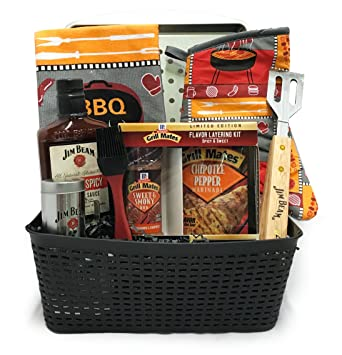 Christmas Gift Baskets For Men.Gift Baskets For Men King Of The Grill Basket Including Jim Beam Bbq Sauce Tongs More Perfect