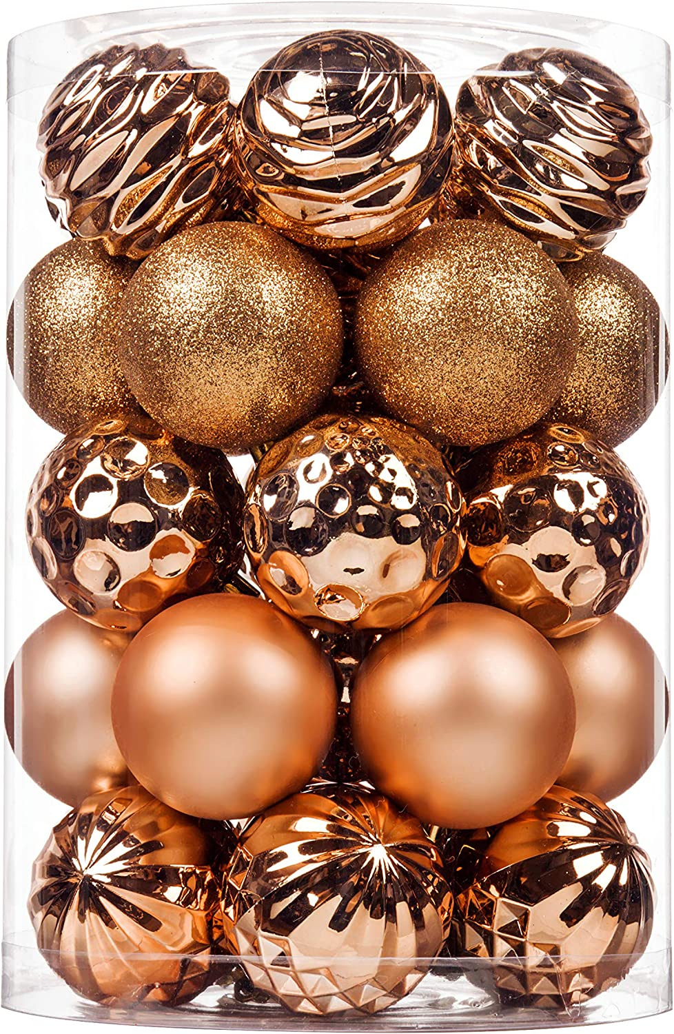 "SY CRAFT 34Ct Christmas Ball Ornaments for Xmas Tree Shatterproof Christmas Decorations Hanging Ball Small for Holiday Party Decoration,Tree Ornaments 2.36""(60mm Rose Gold)"