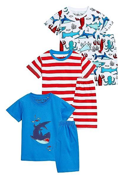 next Niños Pack De Tres Pijamas Cortos con Estampado De Rayas Y Tiburones (9 Meses - 8 Años) 7-8 años: Amazon.es: Ropa y accesorios