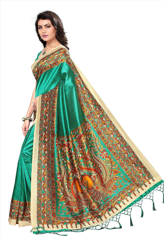Rani-Green Jaanvi fashion Art Soie Kalamkari Imprim/é Saree Femme avec Glands