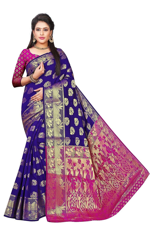 Best Designer Women's Banarasi Silk Jacquard Saree With Blouse Piece For Festive Wear 2021