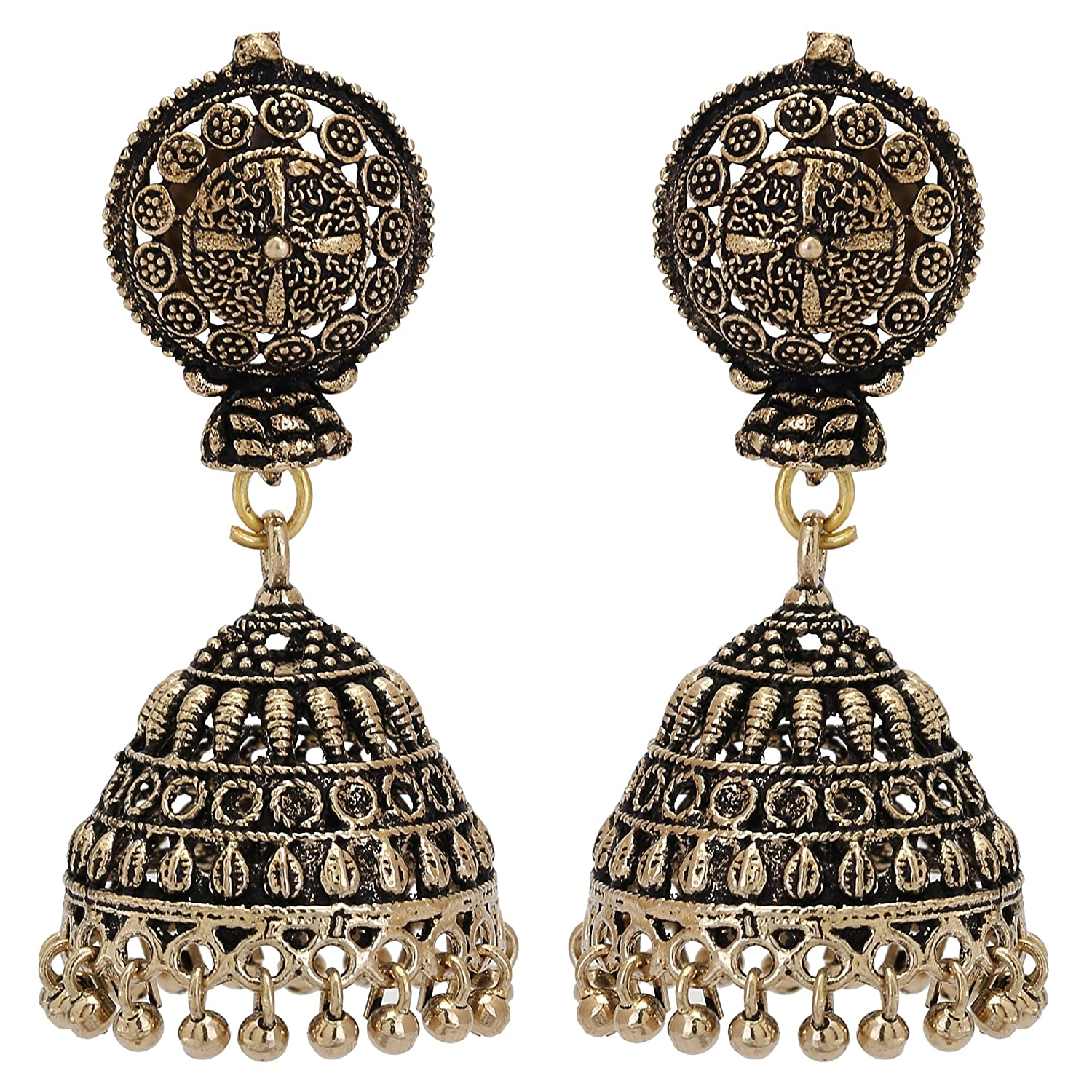 14a82a9666626c Buy Sparkle World Gold Plated Oxidized Stud Small Jhumka Jhumki Earrings  Online at Low Prices in India | Amazon Jewellery Store - Amazon.in