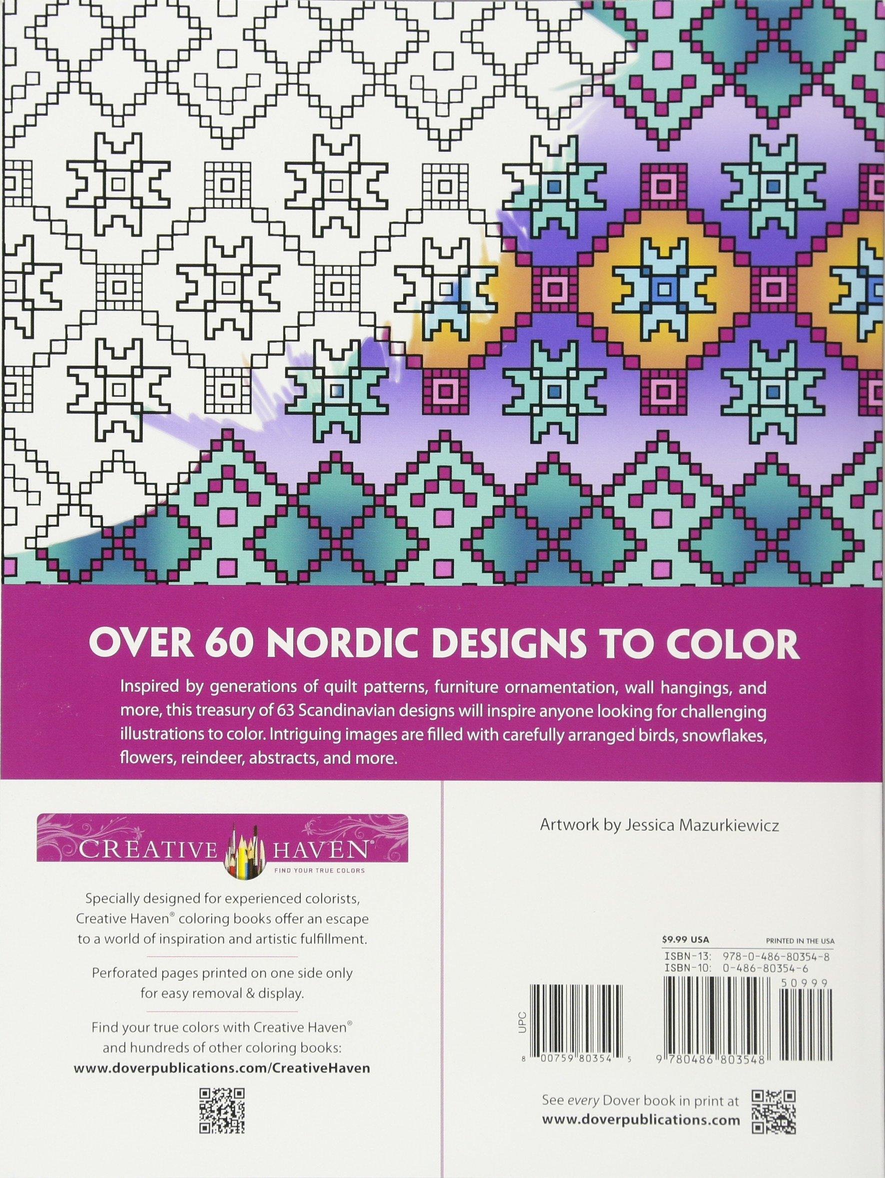 Amazon Creative Haven Deluxe Edition Nordic Designs Coloring Book Adult 9780486803548 Dover Jessica Mazurkiewicz Books