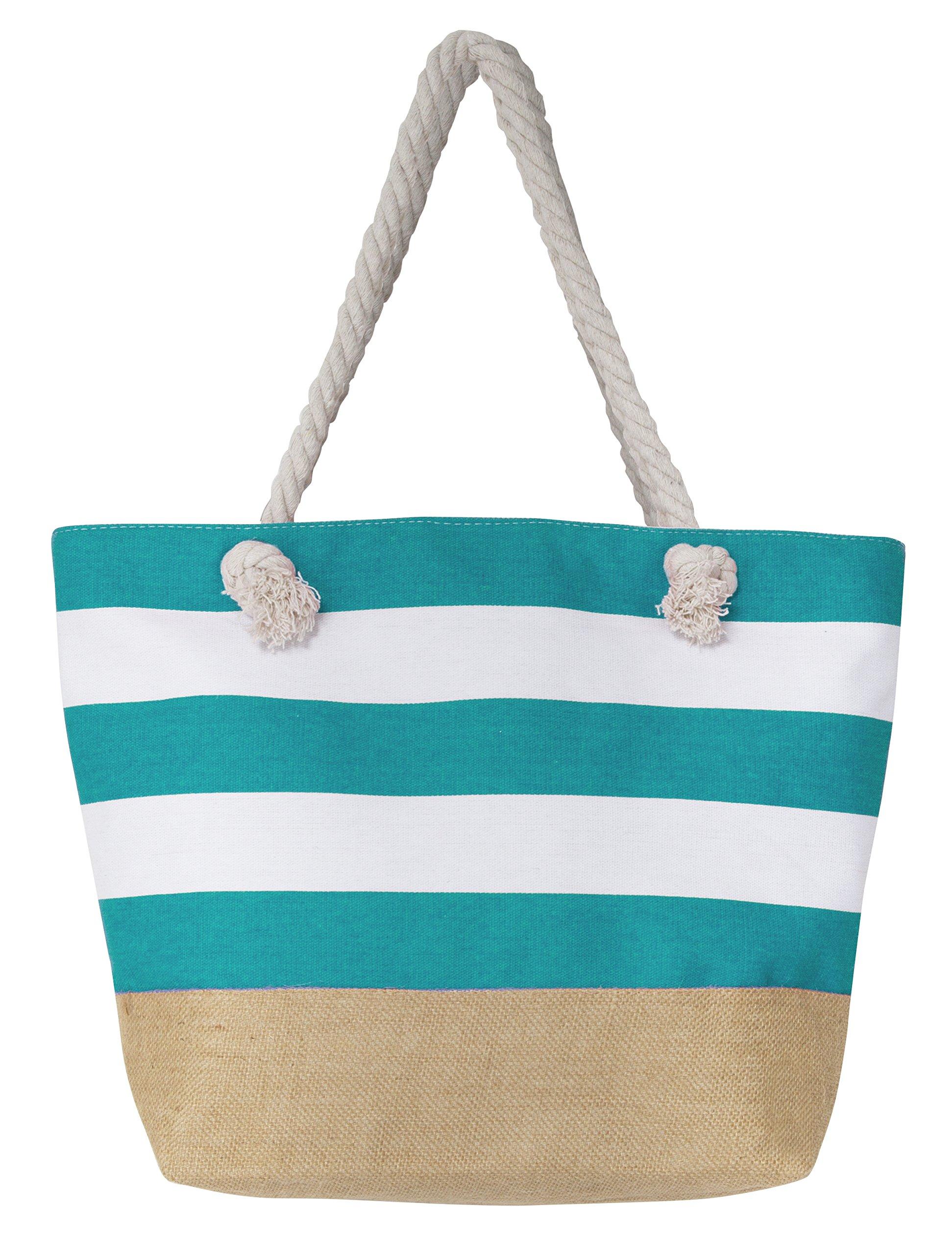 Leisureland Canvas Tote Beach Bag, Water Resistant Shoulder Tote Bag (L20 xH15 xW6, Stripe Blue)