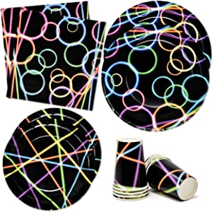 Neon Glow in the Dark Party Supplies Tableware Set 24 9
