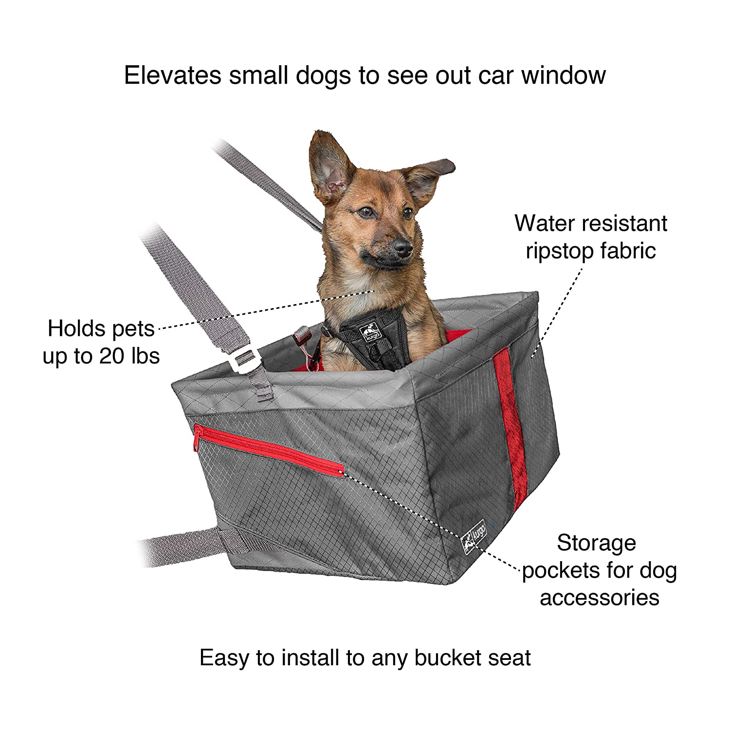 Helps with Canine Car Sickness Front /& Rear Dog Car Seat | Dog Seatbelt Tether Kurgo Car Pet Booster Seat for Dogs or Cats Carrier Carseat for Pets