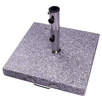 Nexos Sonnenschirmständer 40 kg poliert Granit grau eckig Edelstahl 50 x 50 cm