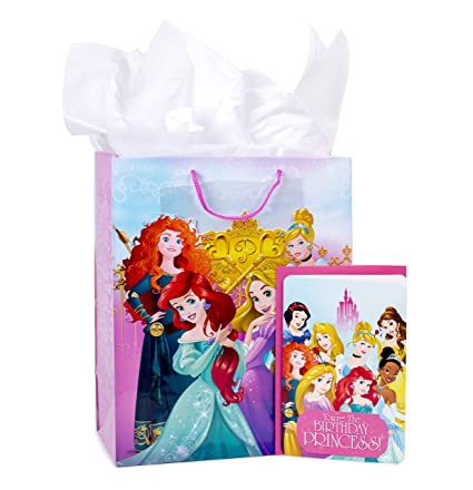 Amazon Hallmark Large Birthday Gift Bag With Tissue Paper And Card Disney Princesses Kitchen Dining