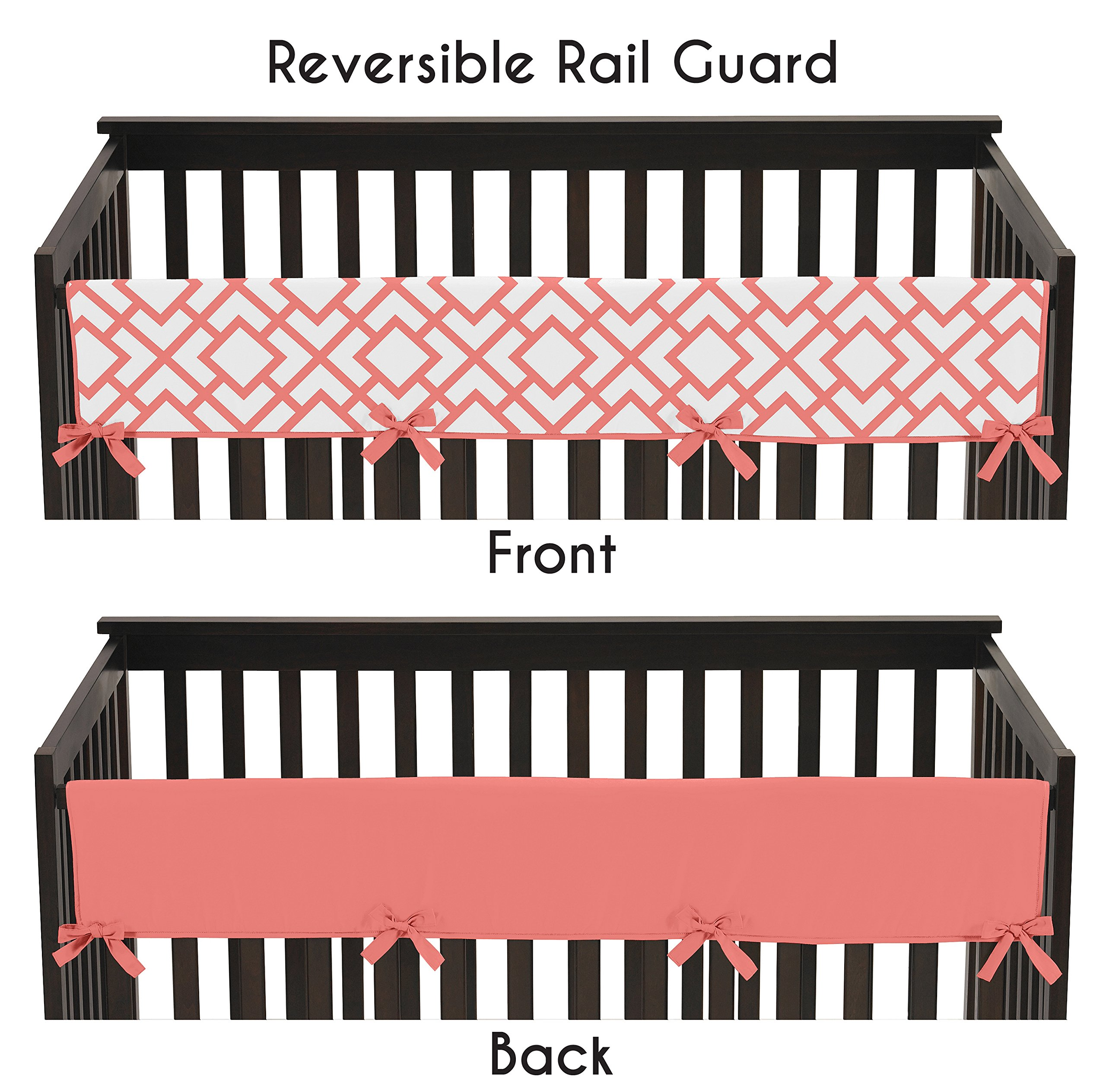 Sweet Jojo Designs Baby Crib Long Rail Guard Wrap Cover Teething Protector for Modern White and Coral Diamond Girls Geometric Bedding Collection by Sweet Jojo Designs