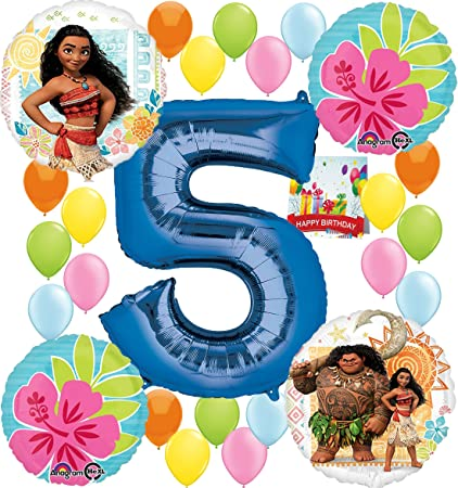 Moana Party Supplies Birthday Decorations Number Balloon Bundle For 5th