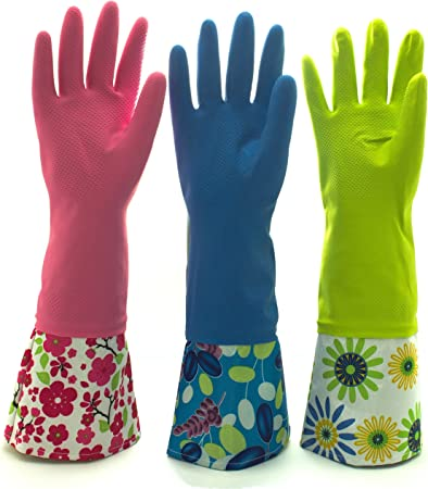 kitchen gloves Reusable Waterproof Household Latex Cleaning Gloves, Long Cuff, Kitchen  Gloves. 16 inches Long - Pack of 3 (Medium): Health & Personal Care