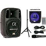 "Alphasonik 8"" Powered 1200W PRO DJ Amplified Loud Speaker Bluetooth USB SD Card AUX MP3 FM Radio PA System LED Ring Karaoke M"