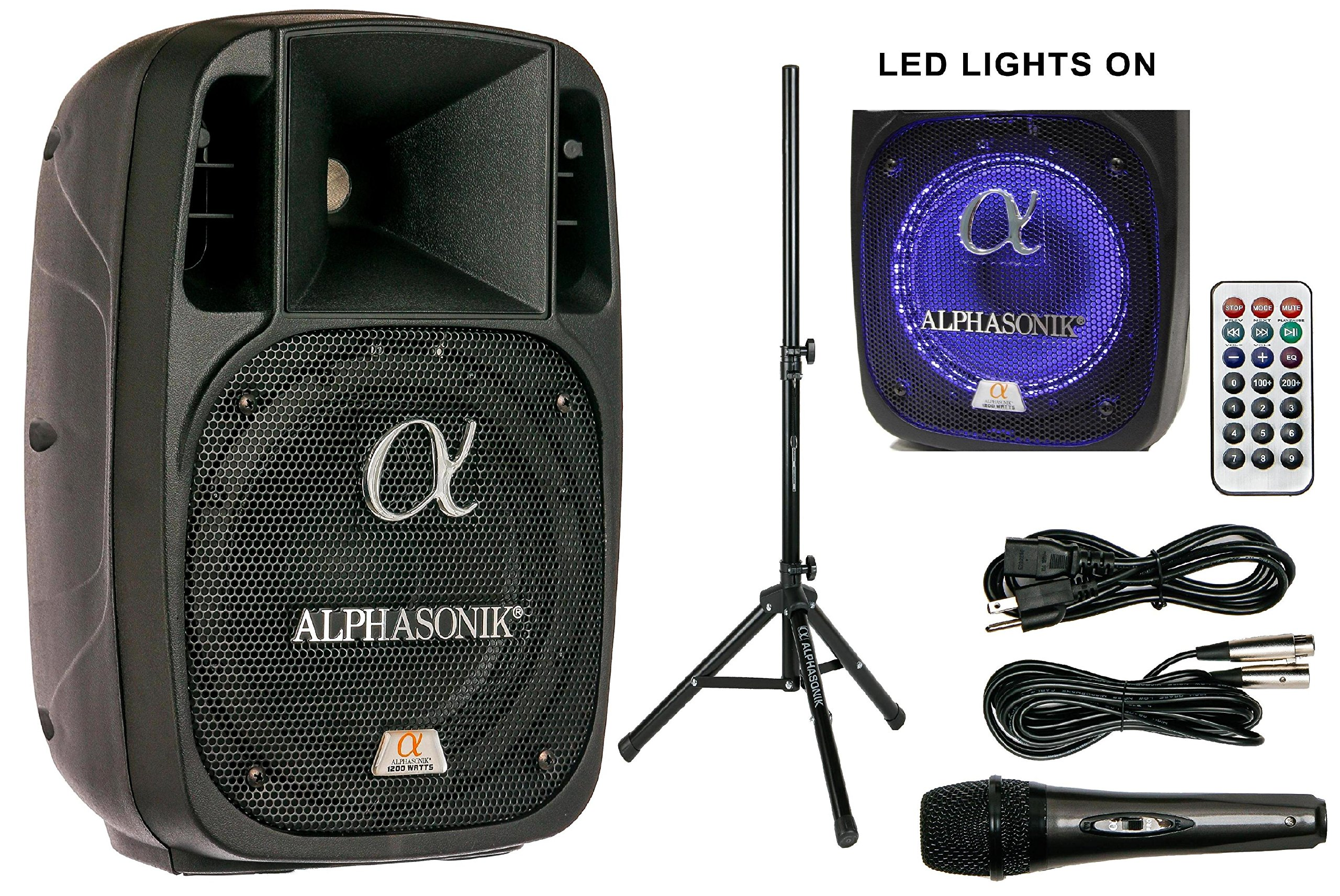 Alphasonik 8'' Powered 1200W PRO DJ Amplified Loud Speaker Bluetooth USB SD Card AUX MP3 FM Radio PA System LED Ring Karaoke Mic Main Monitor, Band Church, Party, Guitar Amp, Home, BBQ w/ Tripod Stand