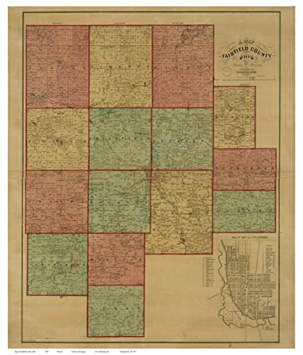 Amazon Com Fairfield County Ohio 1848 Wall Map With Homeowner