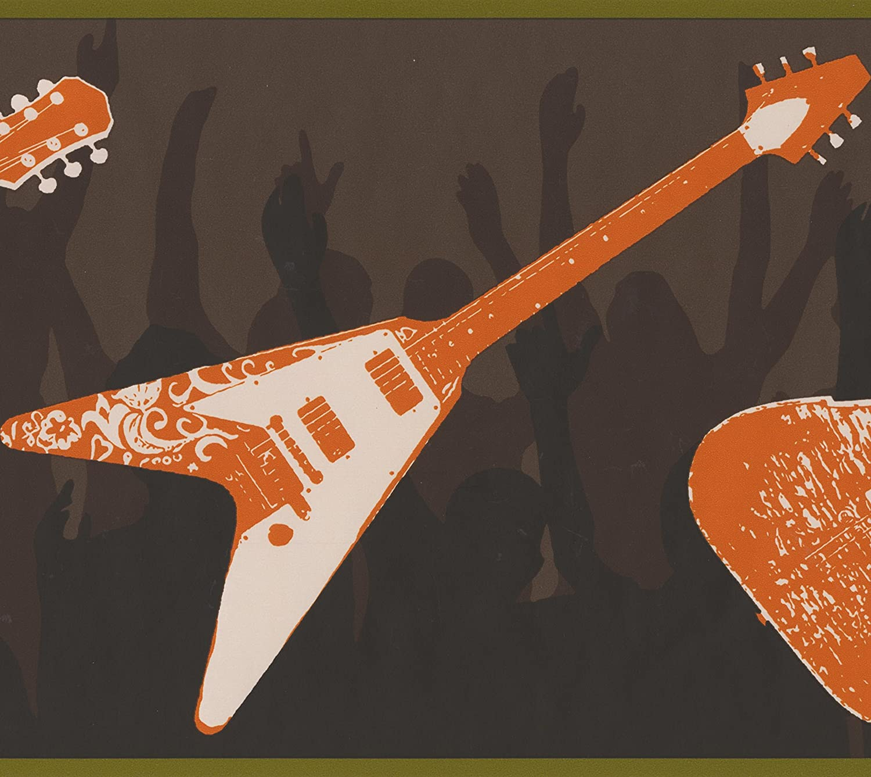 York Wallcoverings Guitarras blancas naranja personas frontera del ...