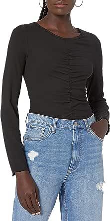 The Drop Women's Hazel Long Sleeve Gathered Front Top