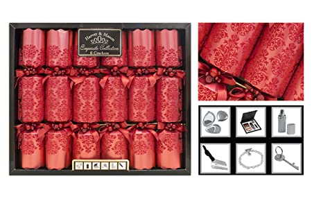 Christmas Crackers.Exquisite Collection Box Of 6 Premium Christmas Crackers 13 5 Wide Barrelled Red Xmas Crackers Xmas Decorations Christmas Decorations Party Games