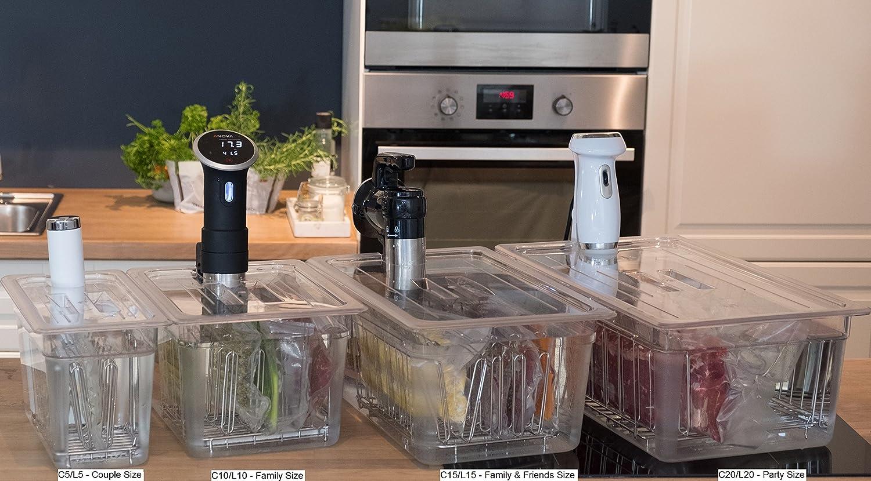 verschiedene Sous Vide Behältergrößen