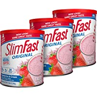 SlimFast Original Strawberries & Cream Meal Replacement Shake Mix – Weight Loss Powder – 12.83 oz. – 14 servings - Pack…