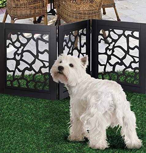 Zoogamo 3 Panel Beautiful Giraffe Motif Design Pet Gate- 19 Tall and Expands Up to 46 Wide Durable Lightweight Extra Wide Wooden Expandable Folding Home Indoor Outdoor Dog Fence