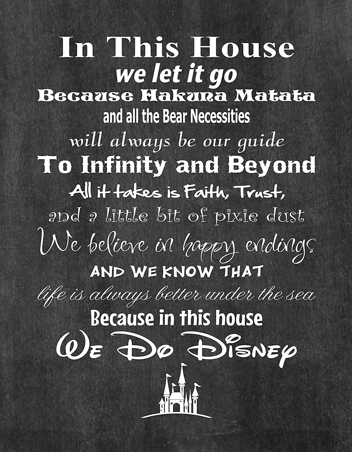 In This House We Do Disney - Poster Print Photo Quality - Made in USA - Disney Family House Rules - Ready to Frame - Frame not included (8x10, Chalkboard Background)