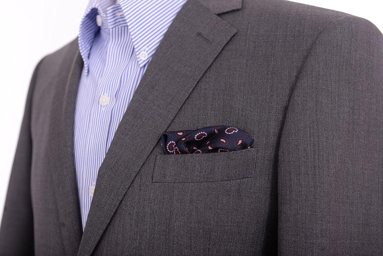 Cesare Attolini Navy /& Pink Paisley Silk Pocket Square Handmade In Italy