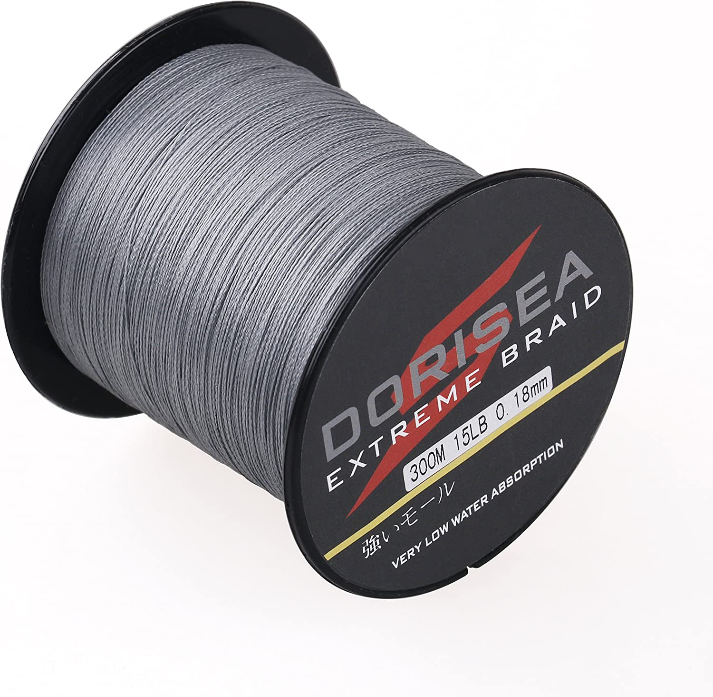 Dorisea Extreme Braid 100/% Pe Grey Braided Fishing Line 109Yards-2187Yards 6-550Lb Test Fishing Wire Fishing String-Abrasion Resistant Incredible Superline