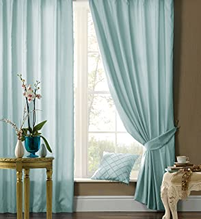 LUXURY FAUX SILK CURTAINS Ready Made Fully Lined Ring Top Curtain ...