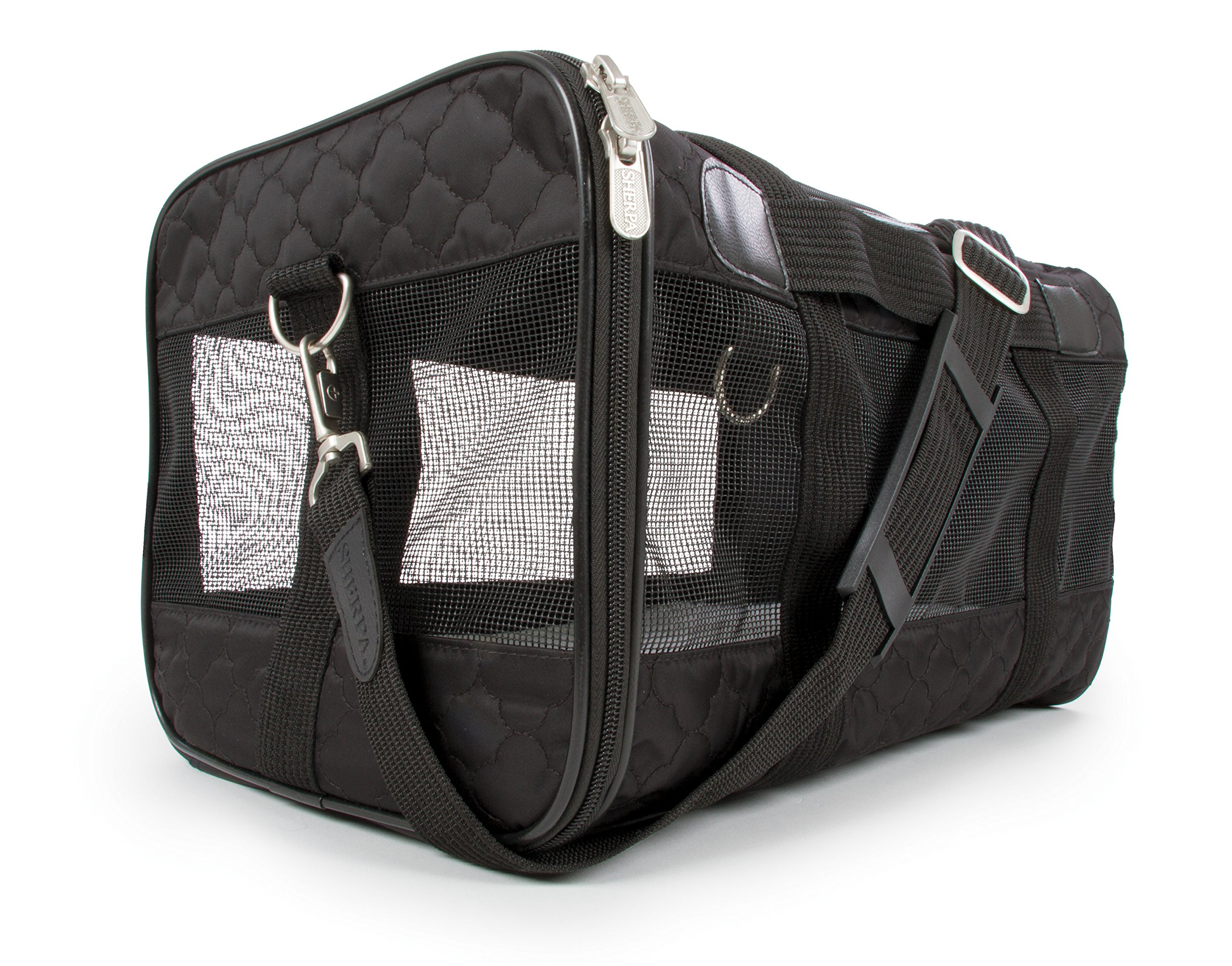 Sherpa Travel Original Deluxe Airline Approved Pet Carrier, Black Lattice Stitching, Medium (Frustration Free Packaging) by Sherpa