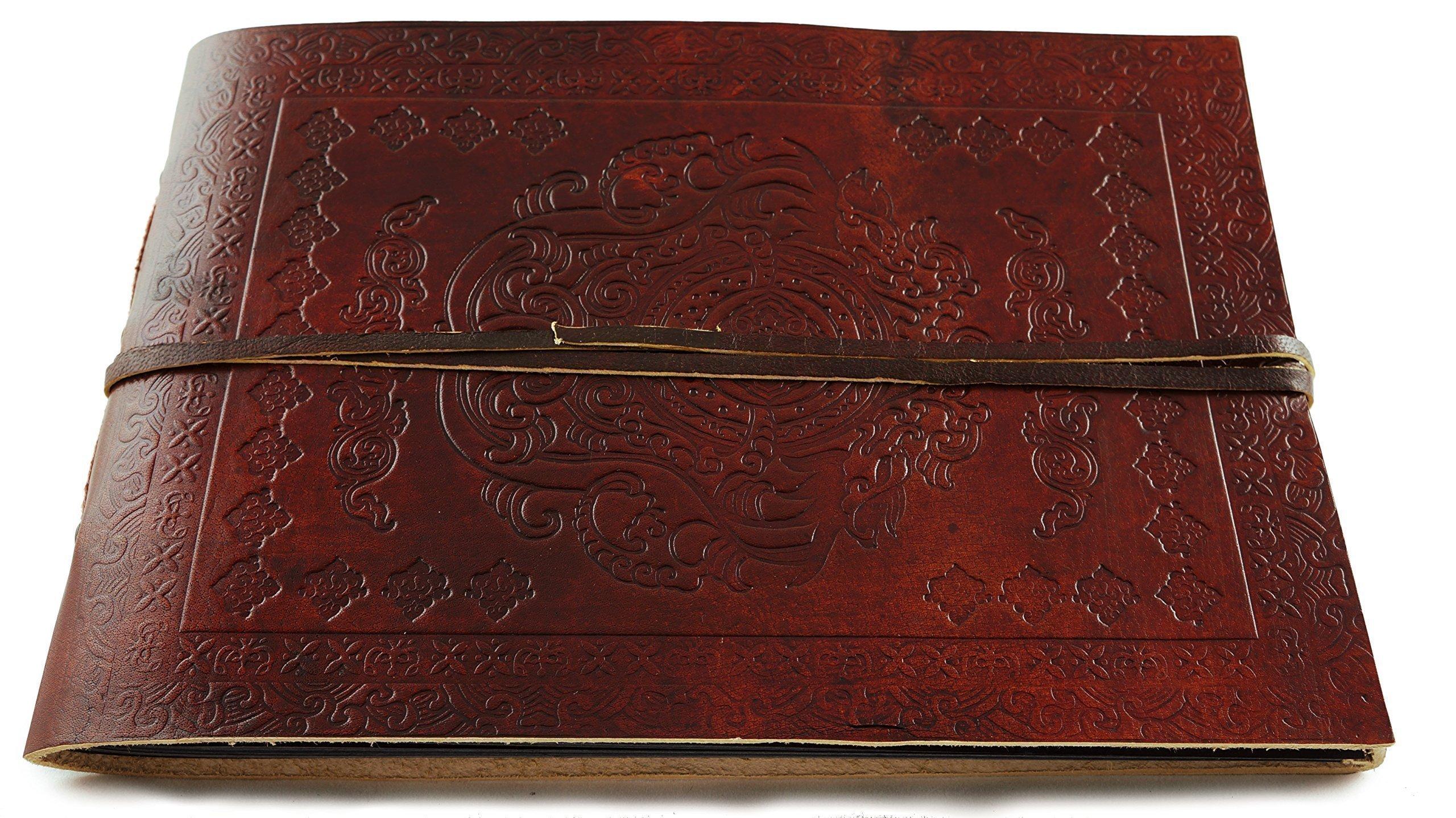 Leather Photo Album Classic Panoramic 10'' x 7'' Handmade Paper 40 Sheets