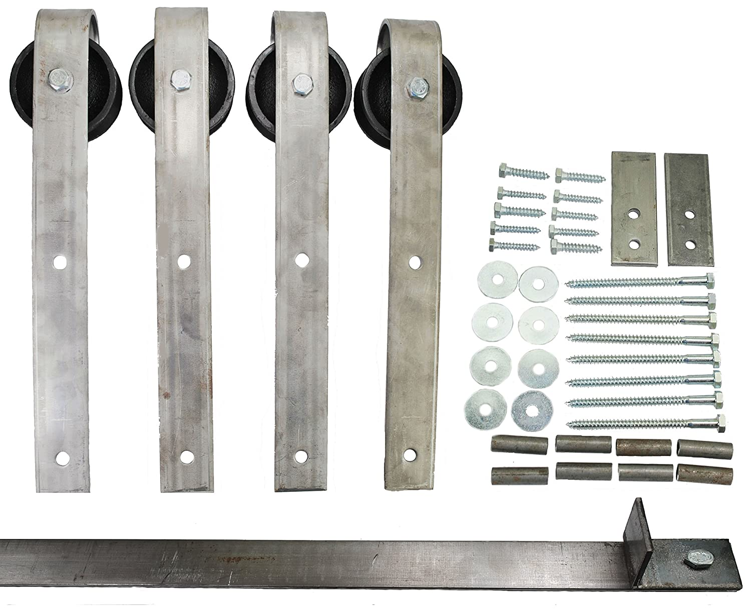 Double Sliding Barn Door Hardware Kit with 7 Ft. Track Included ...