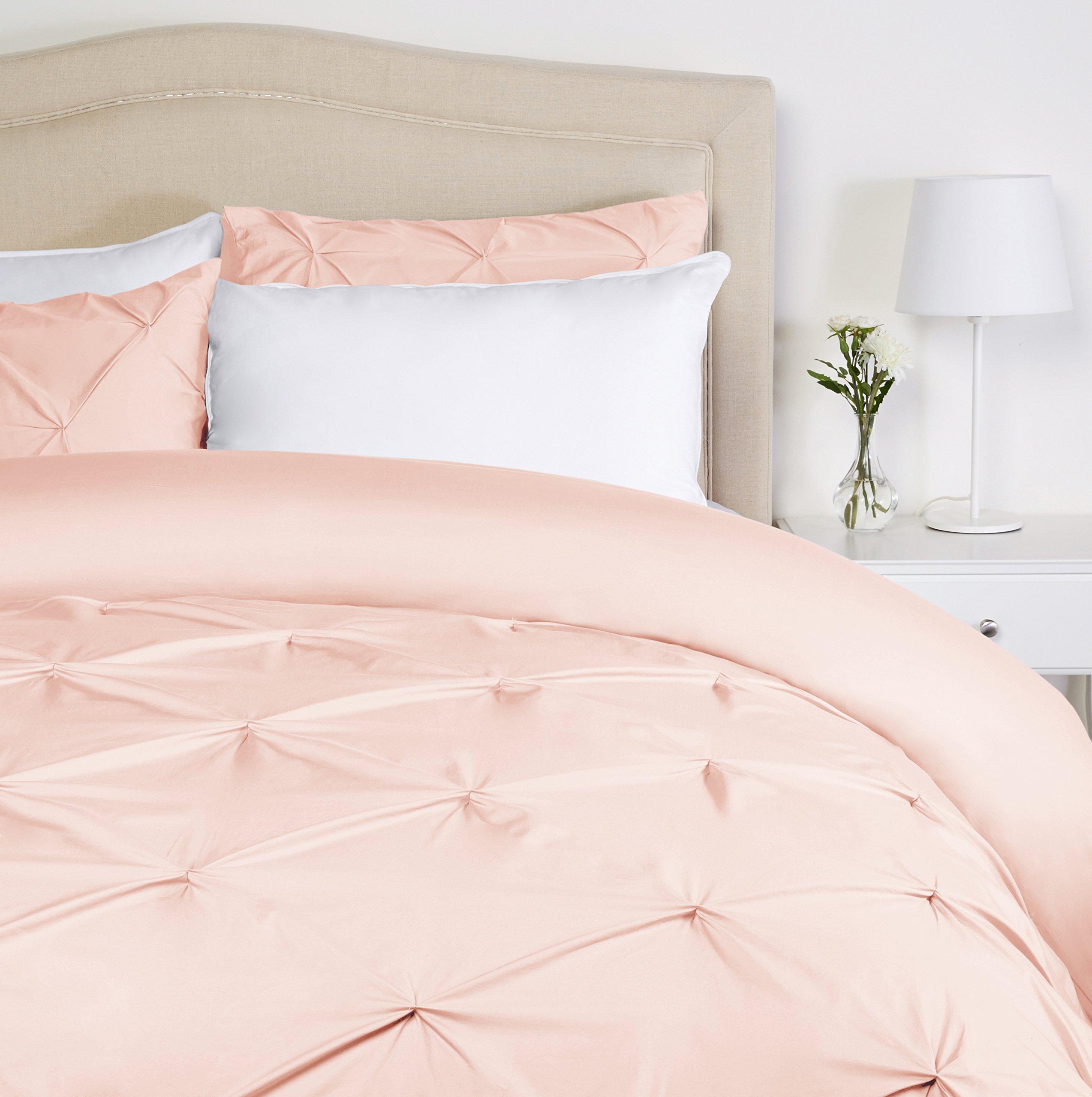 Pinzon - Juego de funda de edredón plisada - 260 x 220 cm - Rosa colorete