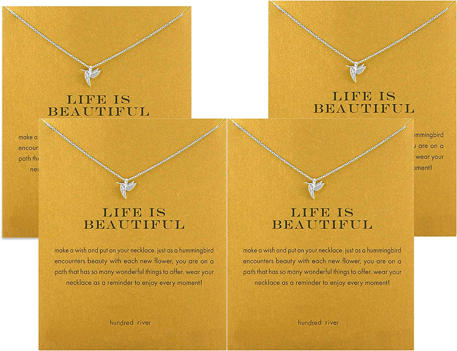 Hundred River Friendship Clover Necklace Unicorn Good Luck Elephant Necklace with Message Card Gift Card (4pack)