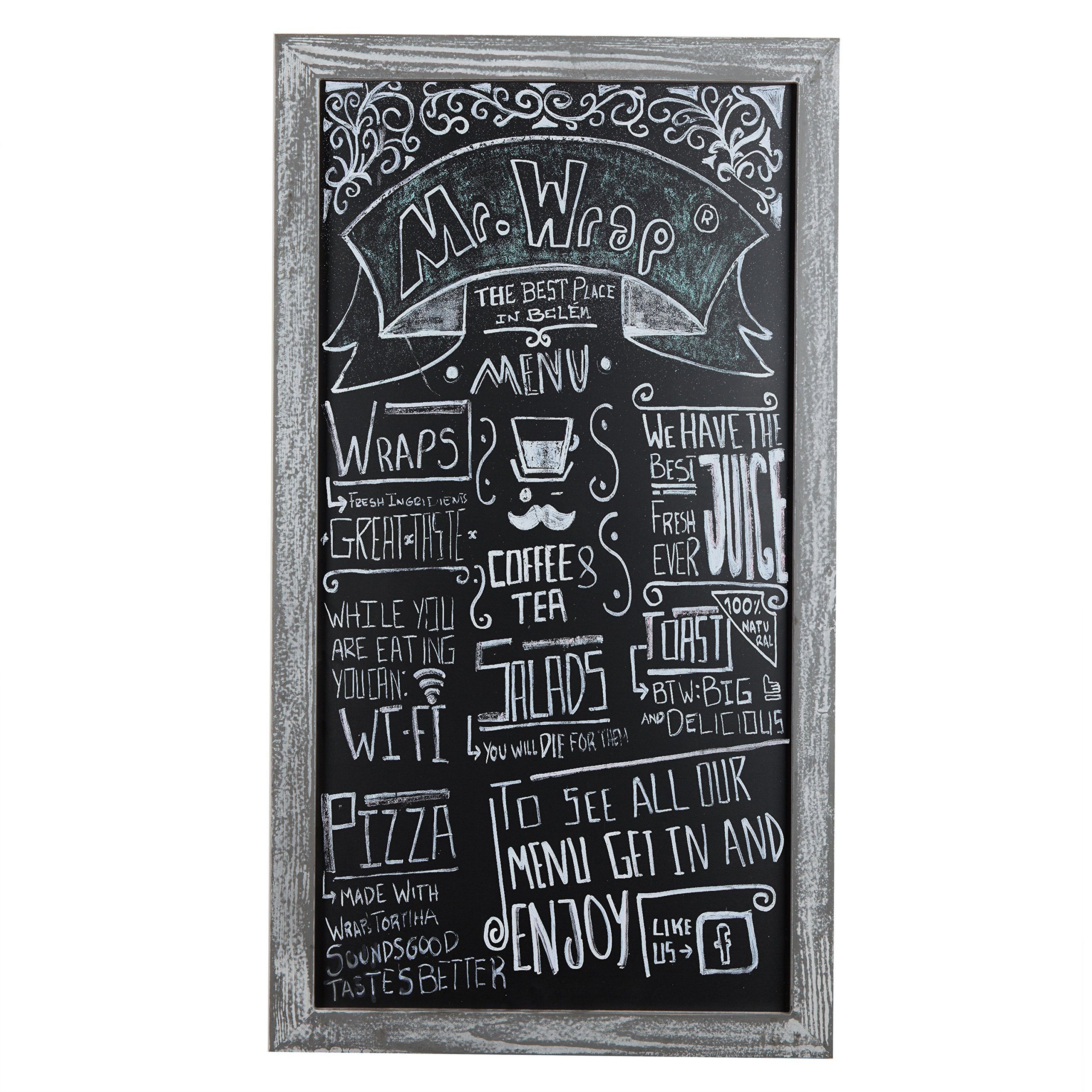 MyGift Rustic 35-Inch Wall Hanging Chalkboard Sign with Distressed Gray Wood Frame