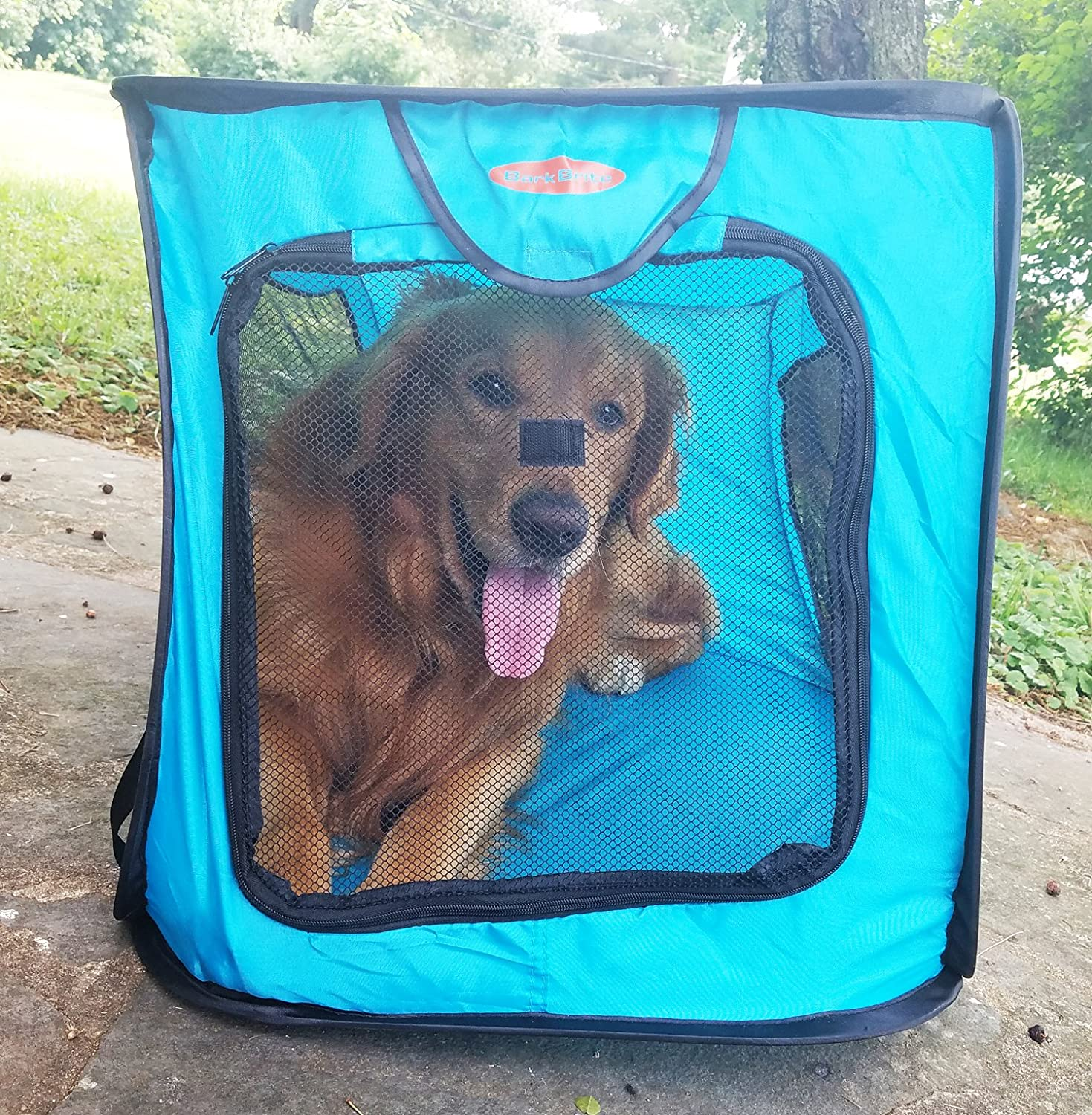 Amazon.com : Bark Brite Pop Open Collapsible Travel Crate in 2 Sizes ...