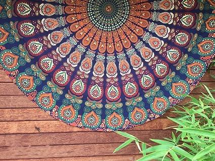 HANDICRAFTOFPINKCITY Indian Tapestry Mandala Round Roundie Hippie Beach  Throw Boho Yoga Mat Bohemian Cotton Table Cloth
